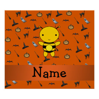 Personalized name bee halloween pattern poster