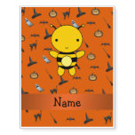 Personalized name bee halloween pattern temporary tattoos