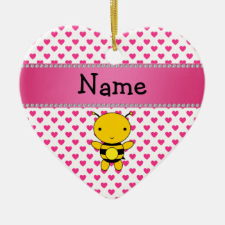 Personalized name bee pink hearts polka dots ceramic ornament