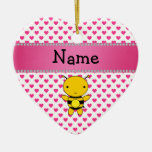 Personalized name bee pink hearts polka dots ornament