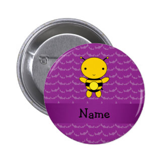 Personalized name bee purple bats 2 inch round button