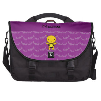 Personalized name bee purple bats laptop commuter bag