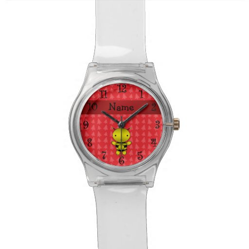 Personalized name bee red christmas trees wrist watches