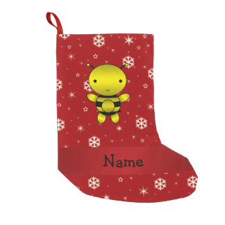 Personalized name bee red snowflakes small christmas stocking