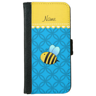 Personalized name bee sky blue circles iPhone 6/6s wallet case