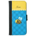 Personalized name bee sky blue circles iPhone 6 wallet case