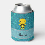 Personalized name bee turquoise glitter can cooler