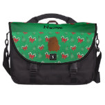 Personalized name bigfoot green candy canes bows laptop commuter bag