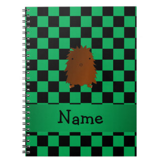 Personalized name bigfoot green checkers note books