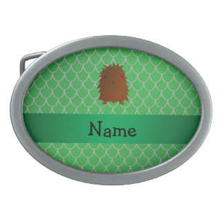 Personalized name bigfoot green dragon scales oval belt buckle