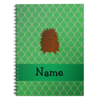 Personalized name bigfoot green dragon scales spiral notebooks