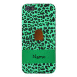 Personalized name bigfoot green leopard pattern iPhone 5 case