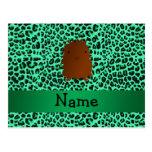 Personalized name bigfoot green leopard pattern postcard