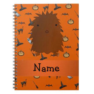 Personalized name bigfoot halloween pattern spiral notebooks