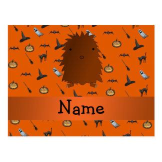 Personalized name bigfoot halloween pattern postcard