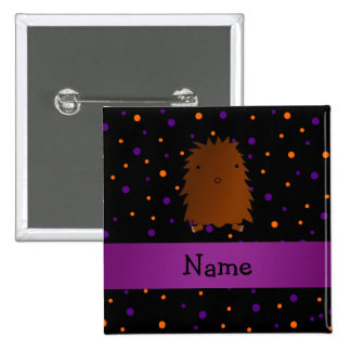 Personalized name bigfoot halloween polka dots 2 inch square button