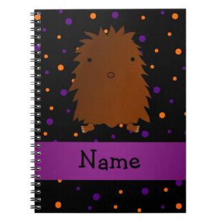 Personalized name bigfoot halloween polka dots notebooks