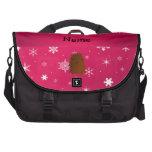 Personalized name bigfoot pink snowflakes laptop commuter bag