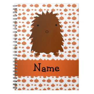 Personalized name bigfoot pumpkins pattern spiral note book
