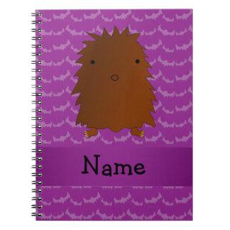 Personalized name bigfoot purple bats spiral notebook
