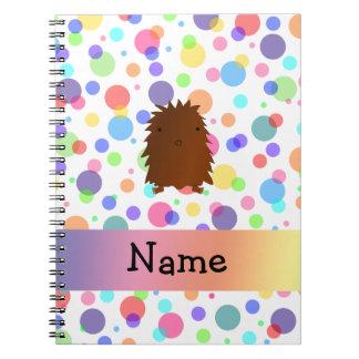 Personalized name bigfoot rainbow polka dots spiral note book