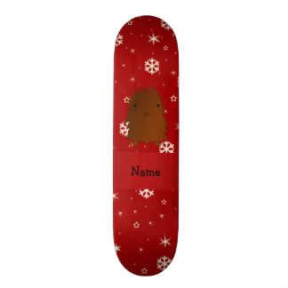 Personalized name bigfoot red snowflakes skateboard deck