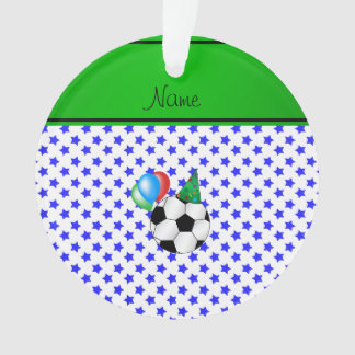 Personalized name birthday soccer blue stars