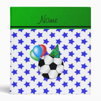 Personalized name birthday soccer blue stars binder