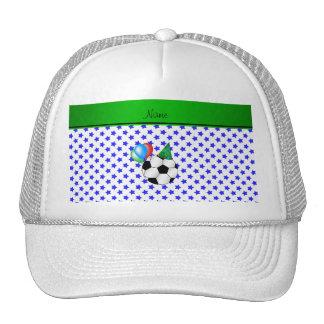 Personalized name birthday soccer blue stars trucker hat