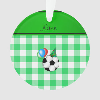 Personalized name birthday soccer green checkers
