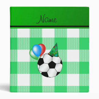 Personalized name birthday soccer green checkers vinyl binders