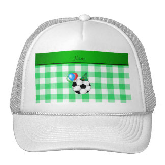 Personalized name birthday soccer green checkers trucker hat