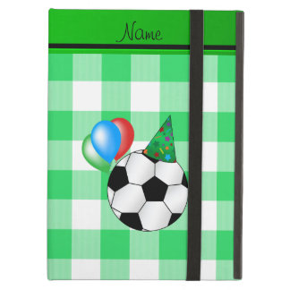 Personalized name birthday soccer green checkers iPad air covers