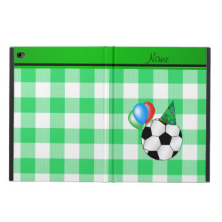 Personalized name birthday soccer green checkers powis iPad air 2 case