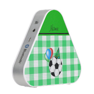 Personalized name birthday soccer green checkers speaker