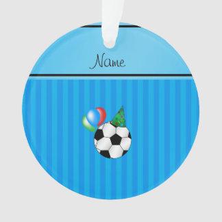 Personalized name birthday soccer sky blue stripes