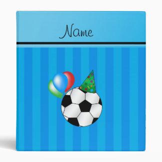Personalized name birthday soccer sky blue stripes binders