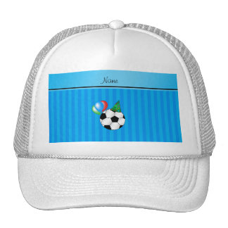 Personalized name birthday soccer sky blue stripes trucker hat