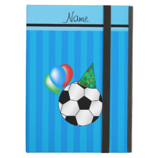Personalized name birthday soccer sky blue stripes case for iPad air