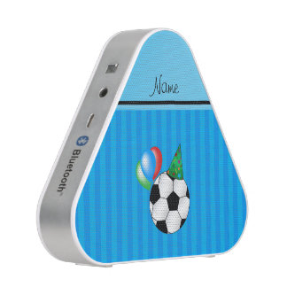 Personalized name birthday soccer sky blue stripes speaker