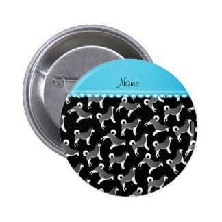 Personalized name black alaskan malamute dogs 2 inch round button
