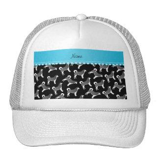 Personalized name black alaskan malamute dogs trucker hat
