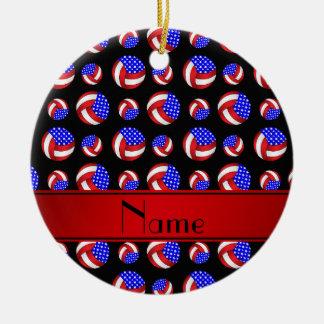 Personalized name black american volleyballs ceramic ornament