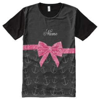 Personalized name black anchors pink glitter bow All-Over print t-shirt
