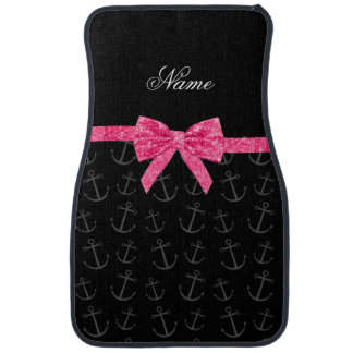 Personalized name black anchors pink glitter bow car mat