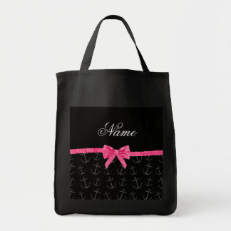 Personalized name black anchors pink glitter bow grocery tote bag