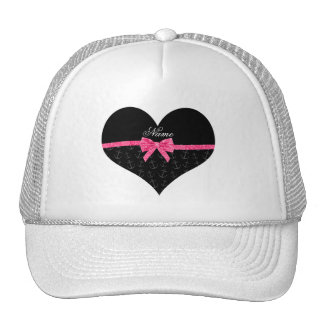 Personalized name black anchors pink glitter bow trucker hat
