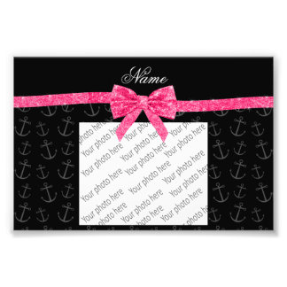 Personalized name black anchors pink glitter bow photographic print