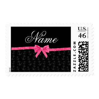 Personalized name black anchors pink glitter bow stamp