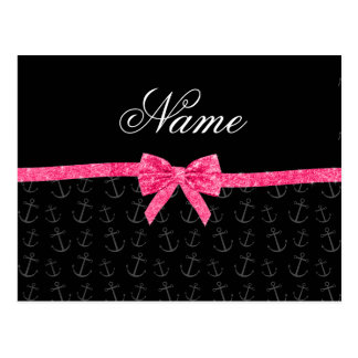 Personalized name black anchors pink glitter bow postcards